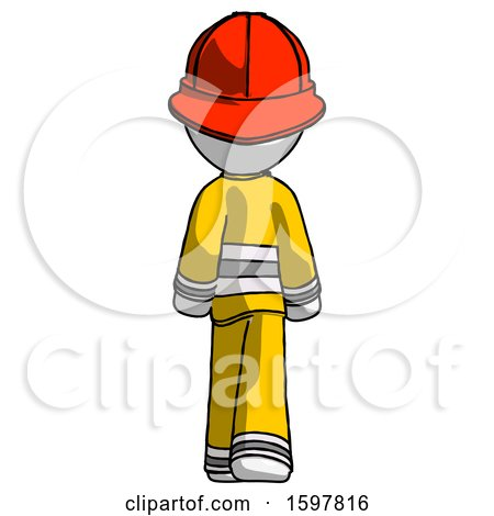 White Firefighter Fireman Man Walking Away, Back View by Leo Blanchette