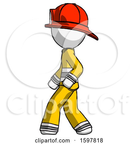 White Firefighter Fireman Man Walking Left Side View by Leo Blanchette
