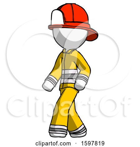 White Firefighter Fireman Man Man Walking Turned Left Front View by Leo Blanchette