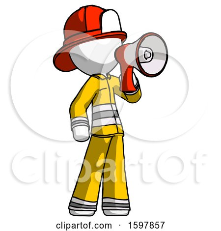 White Firefighter Fireman Man Shouting into Megaphone Bullhorn Facing Right by Leo Blanchette