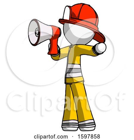 White Firefighter Fireman Man Shouting into Megaphone Bullhorn Facing Left by Leo Blanchette