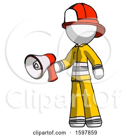 White Firefighter Fireman Man Holding Megaphone Bullhorn Facing Right by Leo Blanchette