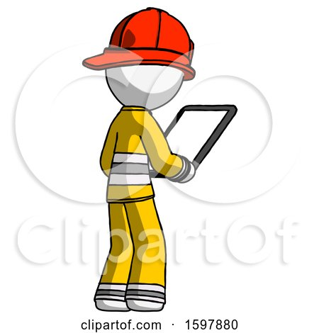 White Firefighter Fireman Man Looking at Tablet Device Computer Facing Away by Leo Blanchette