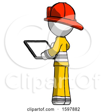 White Firefighter Fireman Man Looking at Tablet Device Computer with Back to Viewer by Leo Blanchette