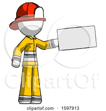 White Firefighter Fireman Man Holding Large Envelope by Leo Blanchette