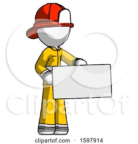 White Firefighter Fireman Man Presenting Large Envelope by Leo Blanchette