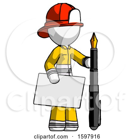 White Firefighter Fireman Man Holding Large Envelope and Calligraphy Pen by Leo Blanchette