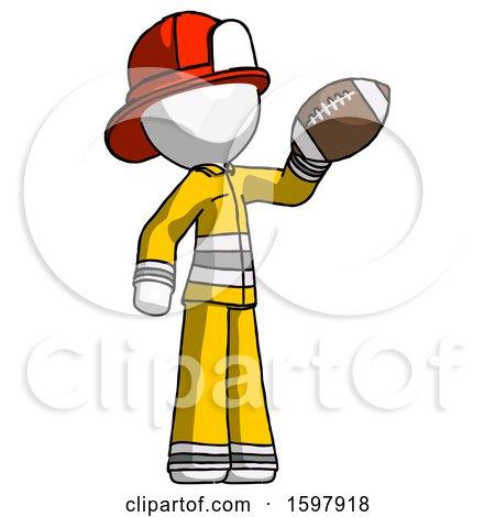 White Firefighter Fireman Man Holding Football up by Leo Blanchette