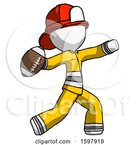 White Firefighter Fireman Man Throwing Football by Leo Blanchette