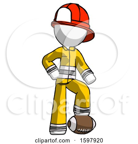 White Firefighter Fireman Man Standing with Foot on Football by Leo Blanchette