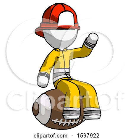 White Firefighter Fireman Man Sitting on Giant Football by Leo Blanchette
