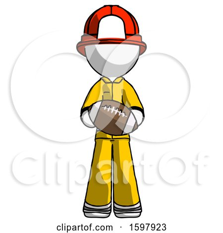 White Firefighter Fireman Man Giving Football to You by Leo Blanchette