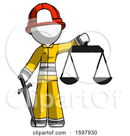 White Firefighter Fireman Man Justice Concept with Scales and Sword, Justicia Derived by Leo Blanchette