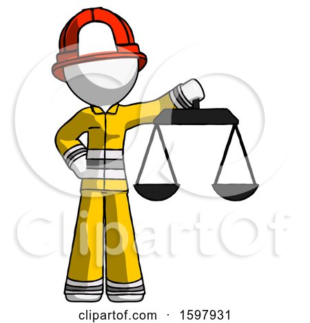 White Firefighter Fireman Man Holding Scales of Justice by Leo Blanchette