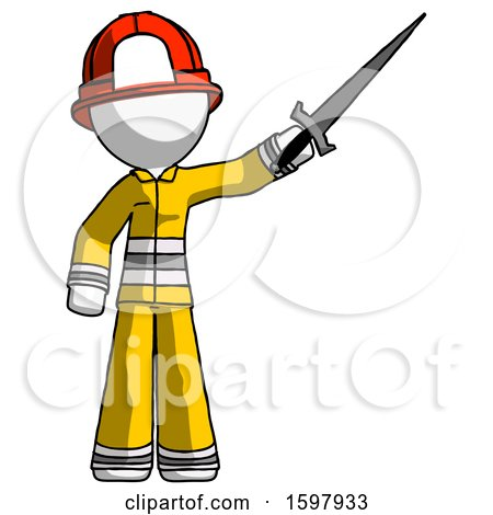 White Firefighter Fireman Man Holding Sword in the Air Victoriously by Leo Blanchette