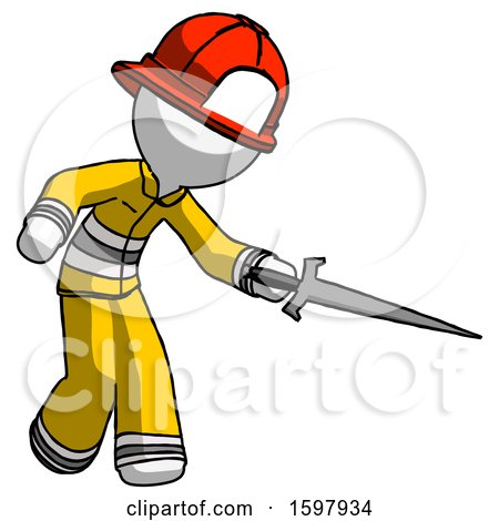 White Firefighter Fireman Man Sword Pose Stabbing or Jabbing by Leo Blanchette