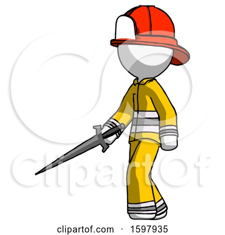 White Firefighter Fireman Man with Sword Walking Confidently by Leo Blanchette