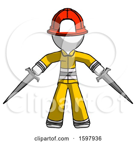 White Firefighter Fireman Man Two Sword Defense Pose by Leo Blanchette