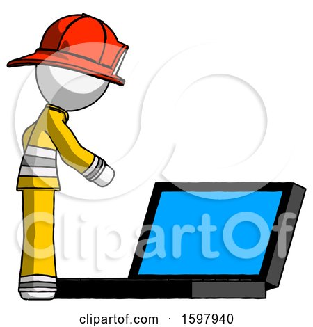 White Firefighter Fireman Man Using Large Laptop Computer Side Orthographic View by Leo Blanchette