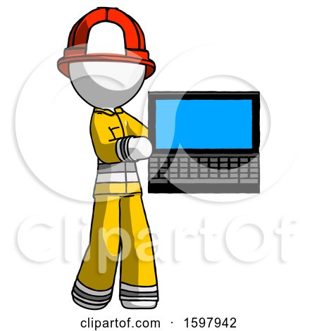 White Firefighter Fireman Man Holding Laptop Computer Presenting Something on Screen by Leo Blanchette