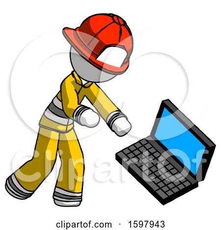 White Firefighter Fireman Man Throwing Laptop Computer in Frustration by Leo Blanchette