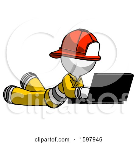 White Firefighter Fireman Man Using Laptop Computer While Lying on Floor Side Angled View by Leo Blanchette