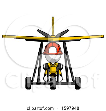 White Firefighter Fireman Man in Ultralight Aircraft Front View by Leo Blanchette