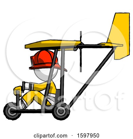 White Firefighter Fireman Man in Ultralight Aircraft Side View by Leo Blanchette
