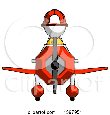 White Firefighter Fireman Man in Geebee Stunt Plane Front View by Leo Blanchette