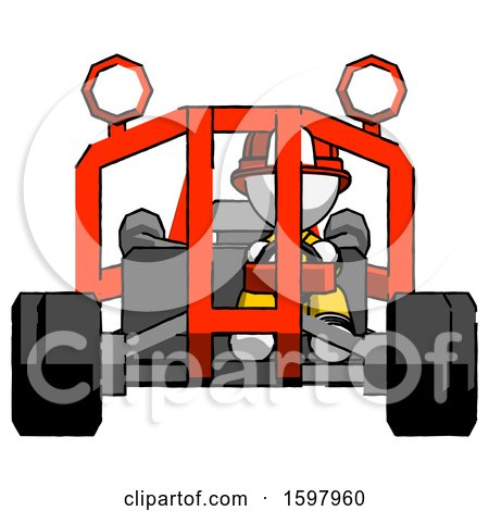 White Firefighter Fireman Man Riding Sports Buggy Front View by Leo Blanchette