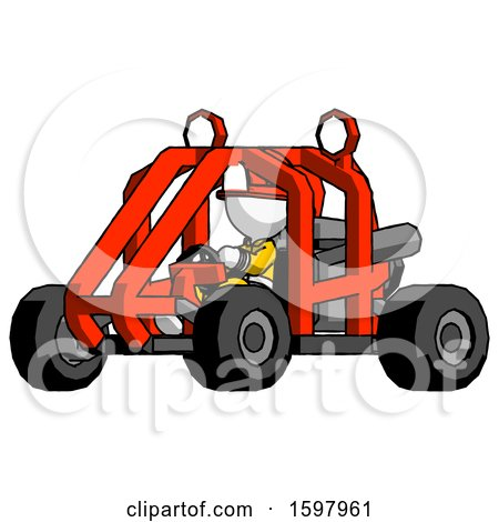 White Firefighter Fireman Man Riding Sports Buggy Side Angle View by Leo Blanchette
