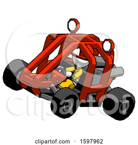 White Firefighter Fireman Man Riding Sports Buggy Side Top Angle View by Leo Blanchette