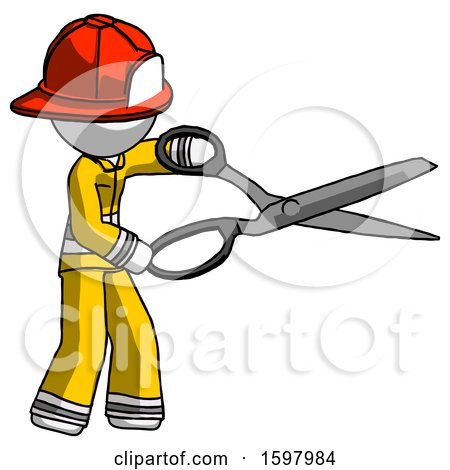 White Firefighter Fireman Man Holding Giant Scissors Cutting out Something by Leo Blanchette