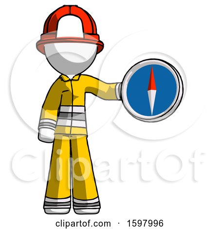 White Firefighter Fireman Man Holding a Large Compass by Leo Blanchette