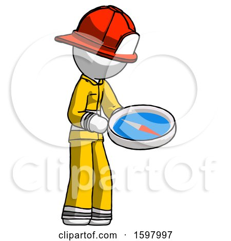 White Firefighter Fireman Man Looking at Large Compass Facing Right by Leo Blanchette