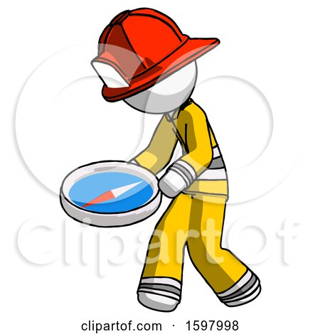 White Firefighter Fireman Man Walking with Large Compass by Leo Blanchette