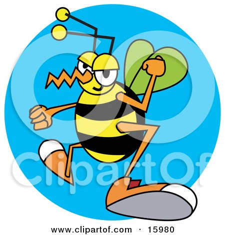 Grumpy Wasp With Clenched Fists Clipart Illustration by Andy Nortnik