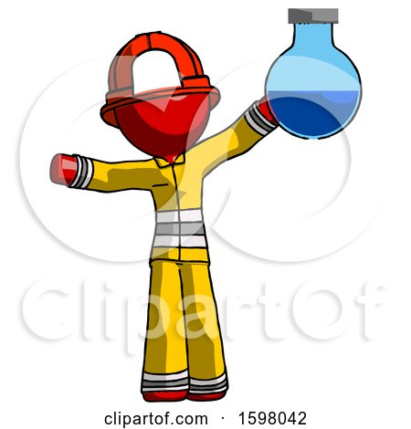 Red Firefighter Fireman Man Holding Large Round Flask or Beaker by Leo Blanchette