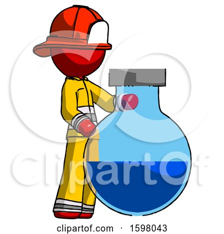 Red Firefighter Fireman Man Standing Beside Large Round Flask or Beaker by Leo Blanchette