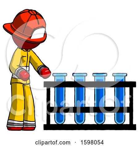 Red Firefighter Fireman Man Using Test Tubes or Vials on Rack by Leo Blanchette