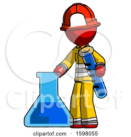 Red Firefighter Fireman Man Holding Test Tube Beside Beaker or Flask by Leo Blanchette