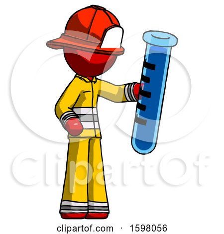 Red Firefighter Fireman Man Holding Large Test Tube by Leo Blanchette