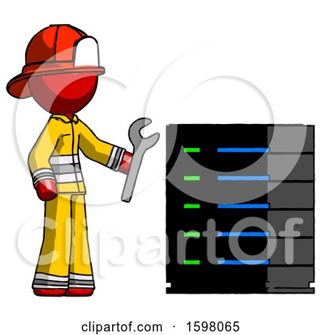 Red Firefighter Fireman Man Server Administrator Doing Repairs by Leo Blanchette