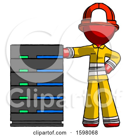 Red Firefighter Fireman Man with Server Rack Leaning Confidently Against It by Leo Blanchette