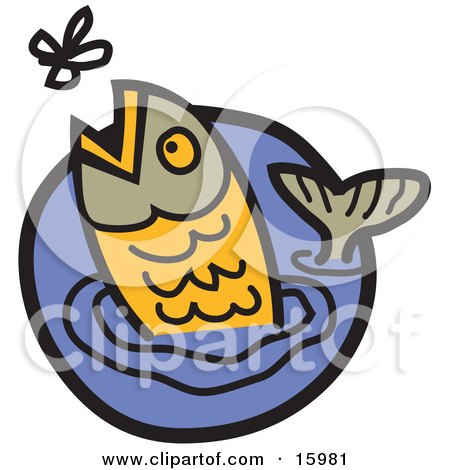 Trout Jumping Out Of Water To Catch A Fly Clipart Illustration by Andy Nortnik