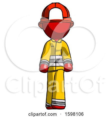 Red Firefighter Fireman Man Walking Front View by Leo Blanchette