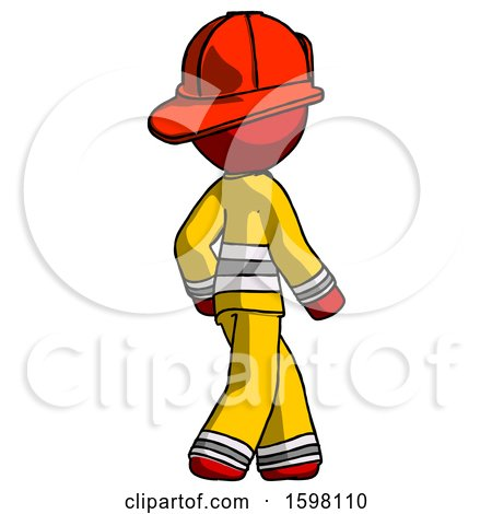 Red Firefighter Fireman Man Walking Away Direction Right View by Leo Blanchette