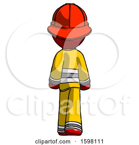 Red Firefighter Fireman Man Walking Away, Back View by Leo Blanchette