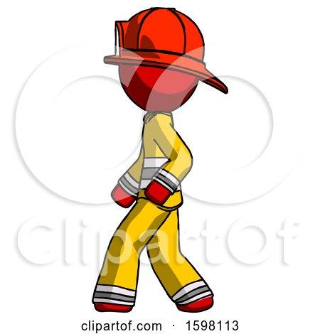 Red Firefighter Fireman Man Walking Left Side View by Leo Blanchette