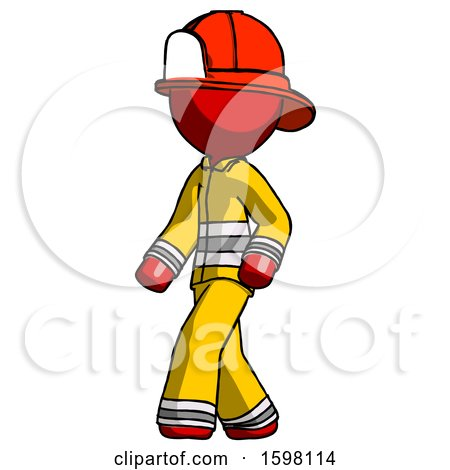Red Firefighter Fireman Man Man Walking Turned Left Front View by Leo Blanchette